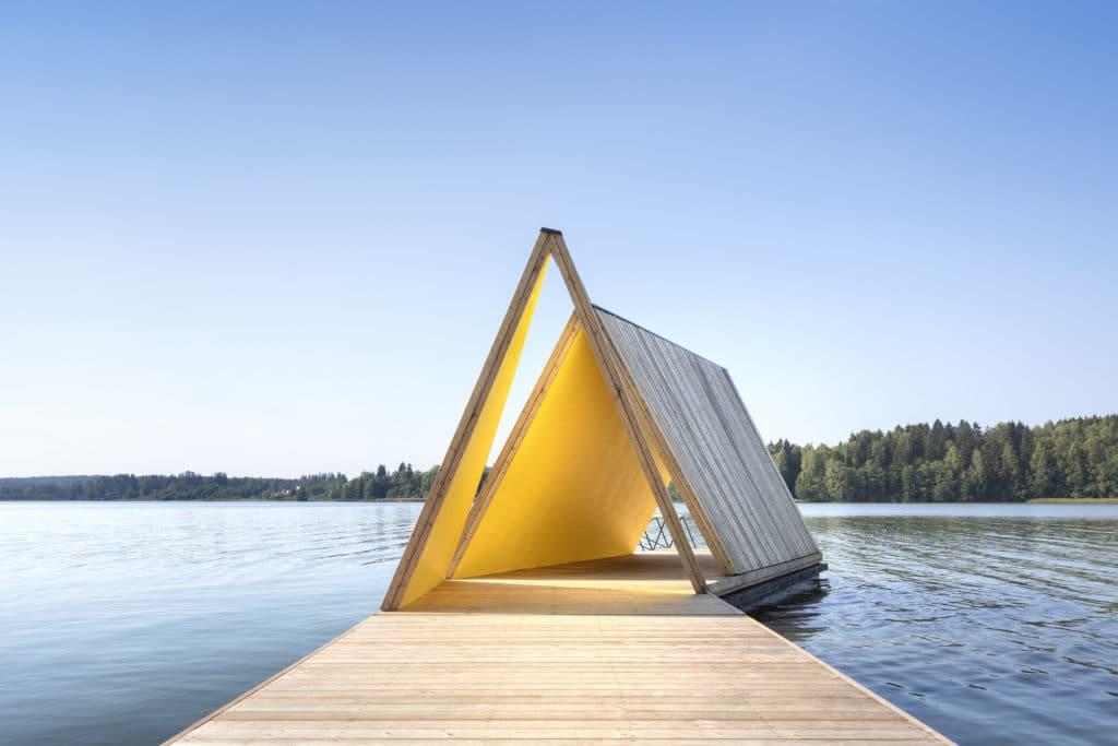 Fjällbon puiston laituri ja uimapaviljonki ulkonäkymä