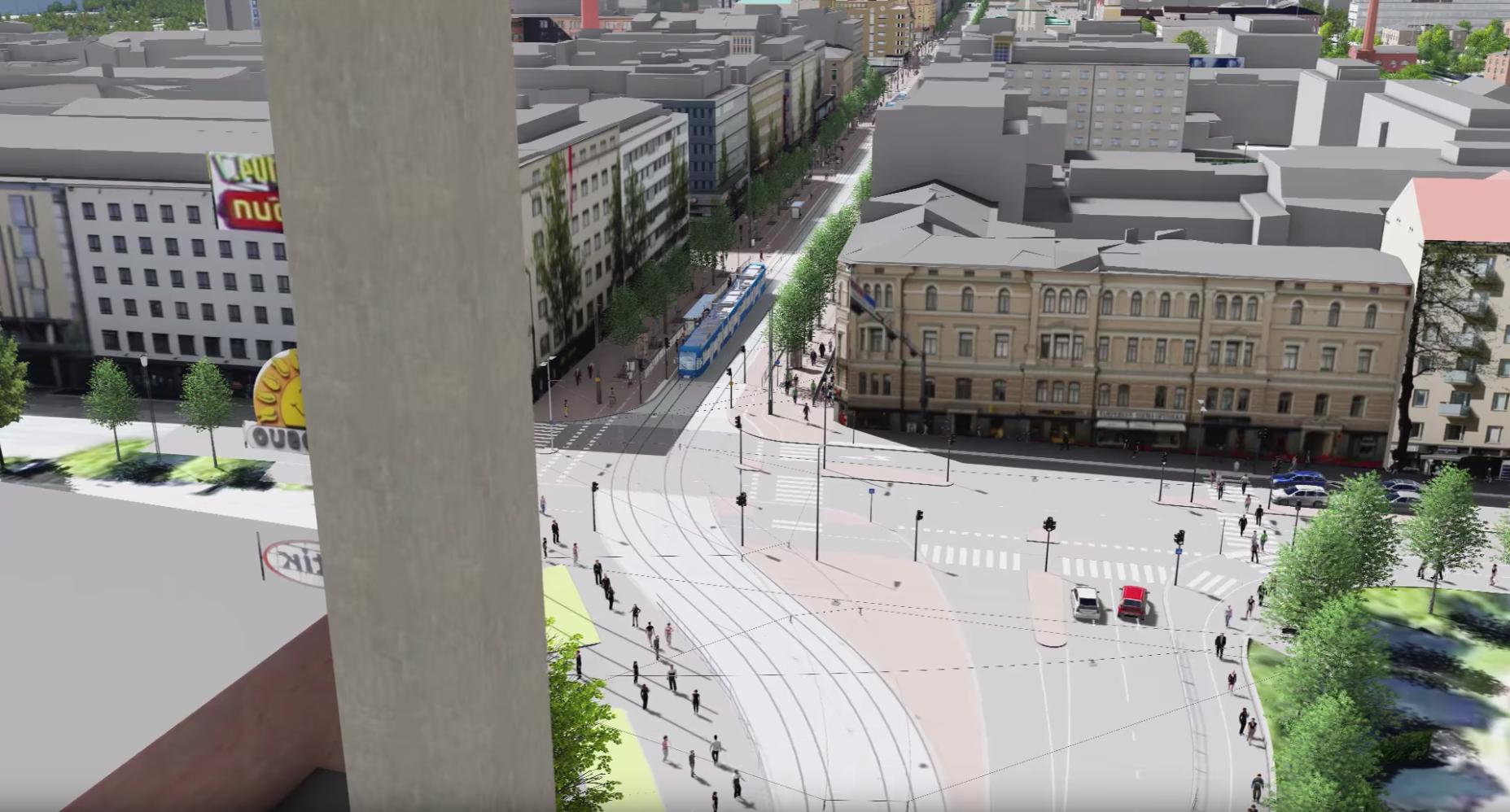 Kuvankaappaus Tampereen keskustan raitioliikennesuunnitelman havainnevideosta