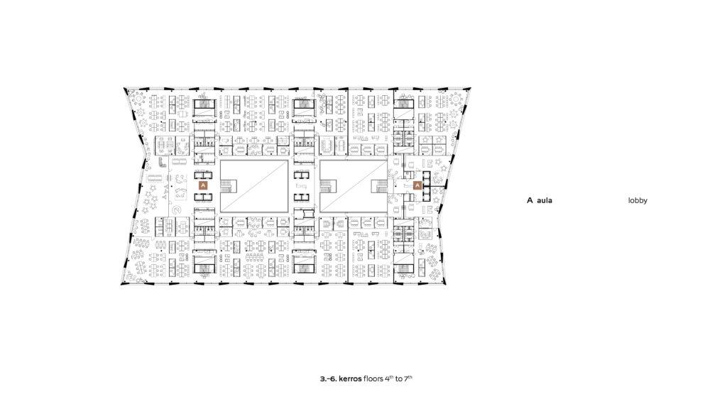 3-6 kerroksen pohjapiirros, toimistokerrokset