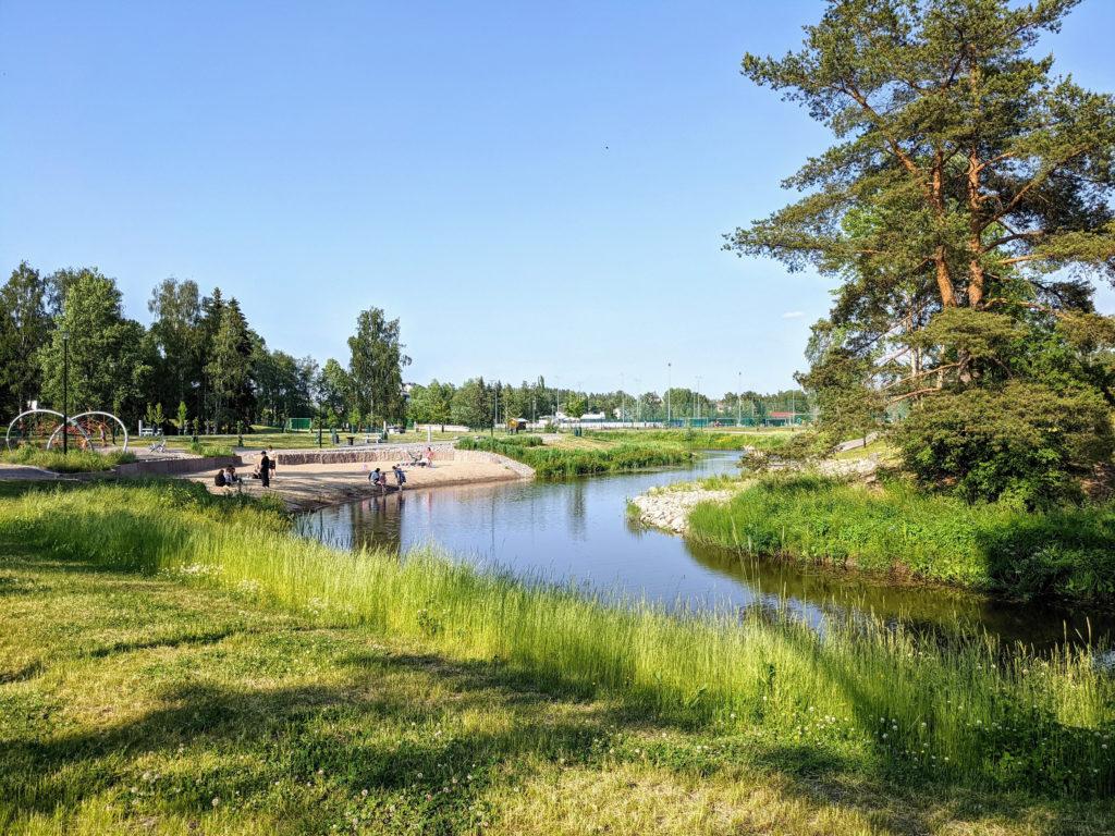 Puisto ja ranta Mäntsälänjoella.