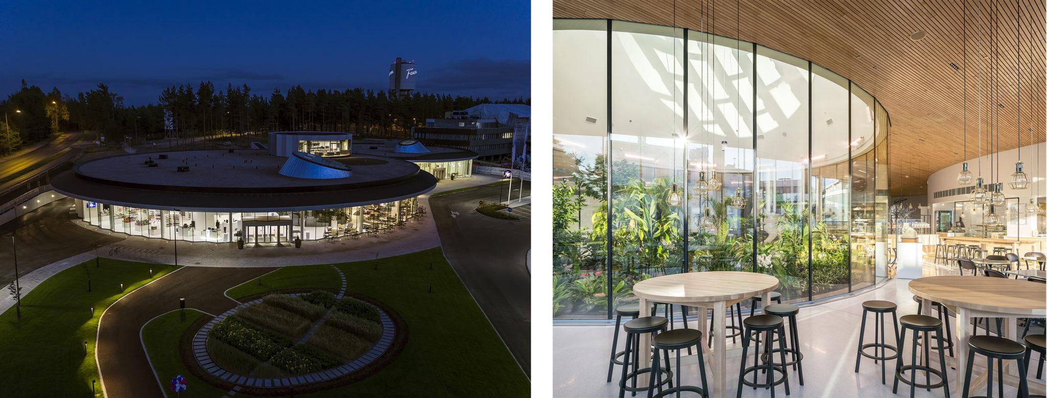 Vasemmalla ilmakuva Fazerin vierailu- ja kokouskekuksesta ja sen ympäristöstä. Oikealla rakennuksen viherhuone ja muuta sisätilaa.